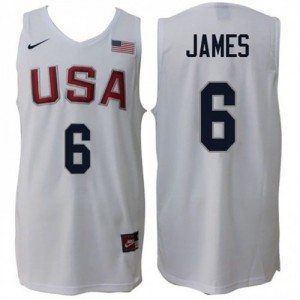 Rio 2016 Olympics USA Dream Team Home Blanco Camiseta de la NBA - LeBron James #6