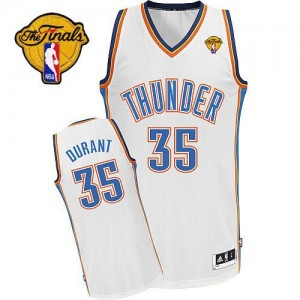 Oklahoma City Thunder Adidas Home Finals Patch Blanco Authentic Camiseta de la NBA - Kevin Durant #35 - Adolescentes