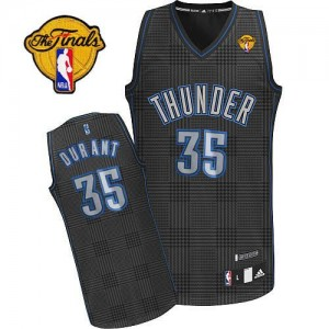 Camiseta NBA Rhythm Fashion Finals Patch Oklahoma City Thunder Negro Authentic - Hombre - #35 Kevin Durant