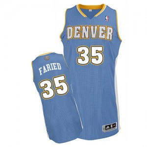 Camiseta NBA Denver Nuggets Kenneth Faried #35 Road Adidas Azul claro Authentic - Hombre