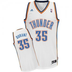 Oklahoma City Thunder Adidas Home Blanco Swingman Camiseta de la NBA - Kevin Durant #35 - Adolescentes