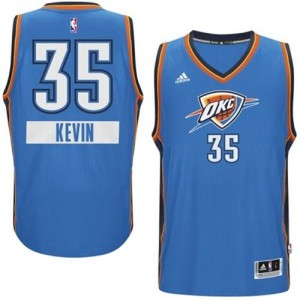 Camiseta Authentic Kevin Durant #35 Oklahoma City Thunder 2014-15 Christmas Day Azul - Hombre