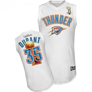 Camiseta NBA Oklahoma City Thunder Kevin Durant #35 2012 Finals Adidas Blanco Authentic - Hombre