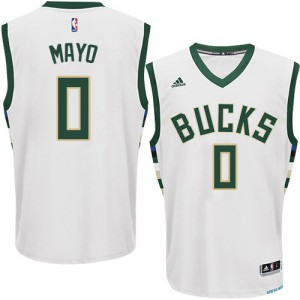 Hombre Camiseta O.J. Mayo #0 Milwaukee Bucks Adidas Home Blanco Swingman