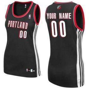 Mujer Camiseta Authentic Personalizadas Portland Trail Blazers Adidas Road Negro