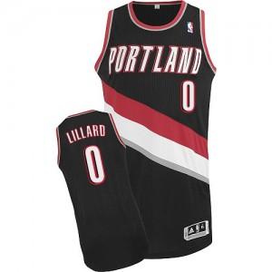 Camiseta Authentic Damian Lillard #0 Portland Trail Blazers Road Negro - Hombre