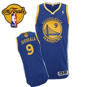 Camisetas Baloncesto Hombre NBA Golden State Warriors Road 2015 The Finals Patch Authentic Andre Iguodala #9 Azul real