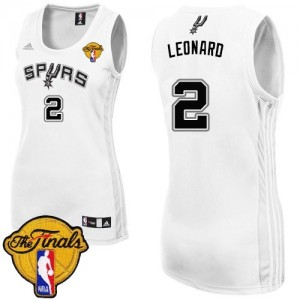 Camiseta NBA Authentic Kawhi Leonard #2 Home Finals Patch Blanco - San Antonio Spurs - Mujer