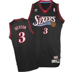 Camiseta NBA 1997-2009 Throwback Philadelphia 76ers Negro Swingman - Hombre - #3 Allen Iverson