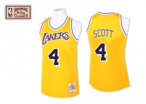 Los Angeles Lakers Mitchell and Ness Throwback Oro Authentic Camiseta de la NBA - Byron Scott #4 - Hombre