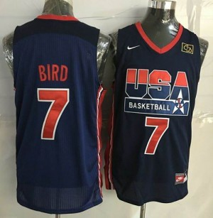 Camiseta Stitched Retro Larry Bird #7 Team USA Azul oscuro