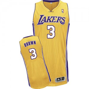 Los Angeles Lakers Adidas Home Oro Authentic Camiseta de la NBA - Anthony Brown #3 - Hombre