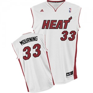 Hombre Camiseta Alonzo Mourning #33 Miami Heat Adidas Home Blanco Swingman
