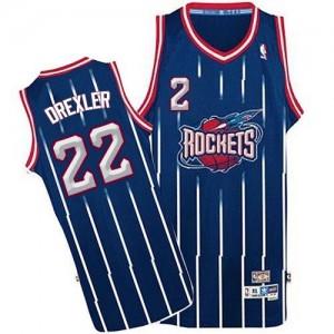 Camisetas Baloncesto Hombre NBA Houston Rockets Throwback Authentic Clyde Drexler #22 Azul marino
