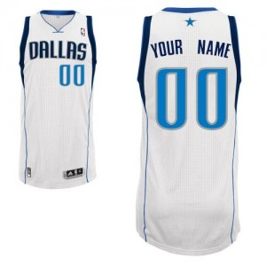 Adolescentes Camiseta Authentic Personalizadas Dallas Mavericks Adidas Home Blanco
