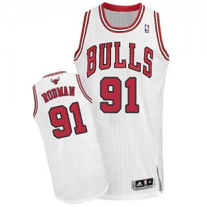 Camiseta NBA Chicago Bulls Dennis Rodman #91 Home Adidas Blanco Authentic - Hombre