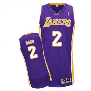Los Angeles Lakers Adidas Road Púrpura Authentic Camiseta de la NBA - Brandon Bass #2 - Hombre