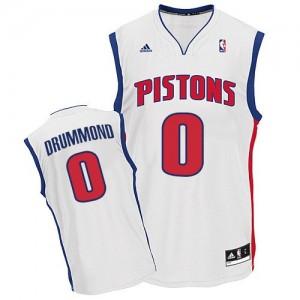 Hombre Camiseta Andre Drummond #0 Detroit Pistons Adidas Home Blanco Swingman