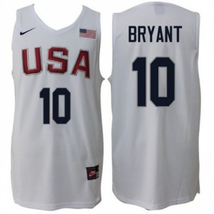Camiseta Commemorate Kobe Bryant #10 Home Blanco - Rio 2016 Olympics USA Dream Team