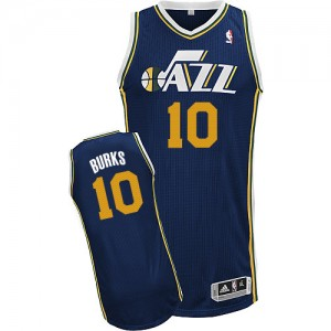 Camiseta NBA Utah Jazz Alec Burks #10 Road Adidas Azul marino Authentic - Hombre