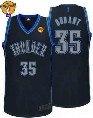 Camiseta NBA Graystone Fashion Finals Patch Oklahoma City Thunder Negro Authentic - Hombre - #35 Kevin Durant