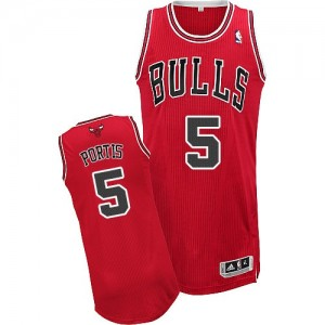 Camiseta NBA Chicago Bulls Bobby Portis #5 Road Adidas Rojo Authentic - Hombre