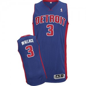Hombre Camiseta Ben Wallace #3 Detroit Pistons Adidas Road Azul real Authentic