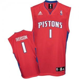 Hombre Camiseta Allen Iverson #1 Detroit Pistons Adidas Rojo Swingman