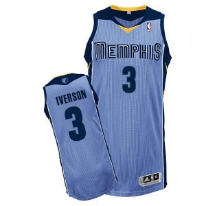 Camiseta Authentic Allen Iverson #3 Memphis Grizzlies Alternate Azul claro - Hombre