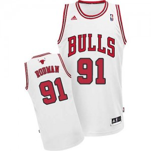Camiseta NBA Chicago Bulls Dennis Rodman #91 Home Adidas Blanco Swingman - Hombre