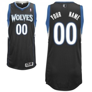 Camiseta Authentic Personalizadas Minnesota Timberwolves Alternate Negro - Hombre