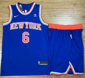 Niño Camiseta Kristaps Porzingis #6 New York Knicks A Set Azul Swingman Icon Edition