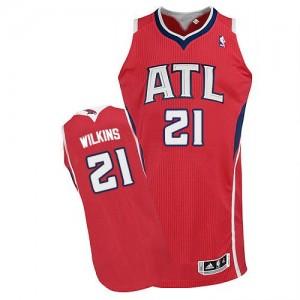Camiseta NBA Alternate Atlanta Hawks Rojo Authentic - Hombre - #21 Dominique Wilkins