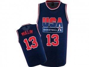 Hombre Camiseta Chris Mullin #13 Team USA Nike 2012 Olympic Retro Azul marino Authentic