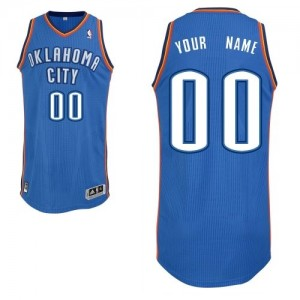 Hombre Camiseta Authentic Personalizadas Oklahoma City Thunder Adidas Road Azul real