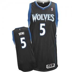Minnesota Timberwolves Adidas Alternate Negro Authentic Camiseta de la NBA - Gorgui Dieng #5 - Hombre