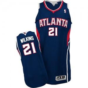 Camiseta NBA Road Atlanta Hawks Azul marino Authentic - Hombre - #21 Dominique Wilkins