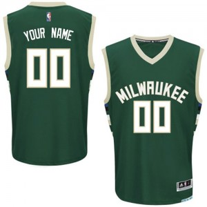 Camiseta Authentic Personalizadas Milwaukee Bucks Road Verde - Hombre