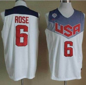 2014 Team USA Stitched Blanco Camiseta de la NBA - Derrick Rose #6