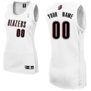 Mujer Camiseta Authentic Personalizadas Portland Trail Blazers Adidas Home Blanco