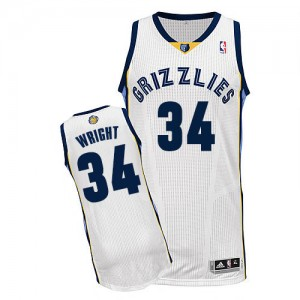 Camiseta NBA Authentic Brandan Wright #34 Home Blanco - Memphis Grizzlies - Hombre