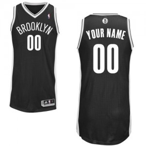 Hombre Camiseta Authentic Personalizadas Brooklyn Nets Adidas Road Negro