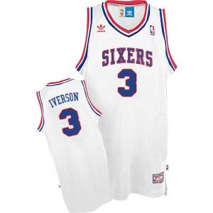 Camiseta NBA Throwack Philadelphia 76ers Blanco Swingman - Hombre - #3 Allen Iverson