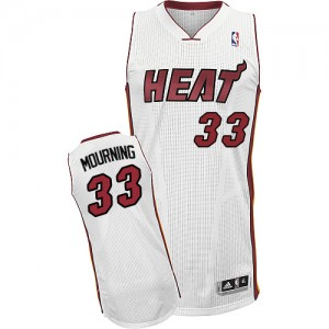 Camiseta NBA Miami Heat Alonzo Mourning #33 Home Adidas Blanco Authentic - Hombre
