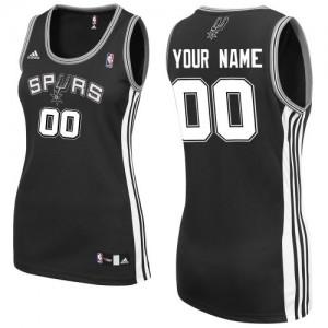 San Antonio Spurs Adidas Road Negro Camiseta de la NBA - Swingman Personalizadas - Mujer