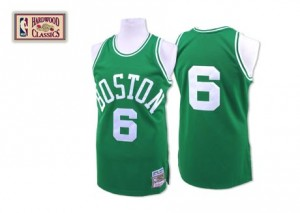 Camiseta Authentic Bill Russell #6 Boston Celtics Throwback Verde - Hombre