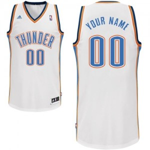 Oklahoma City Thunder Adidas Home Blanco Camiseta de la NBA - Swingman Personalizadas - Hombre