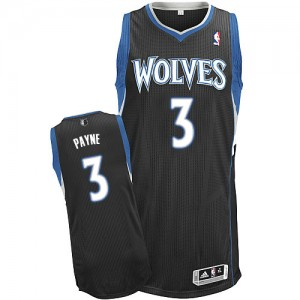 Minnesota Timberwolves Adidas Alternate Negro Authentic Camiseta de la NBA - Adreian Payne #3 - Hombre