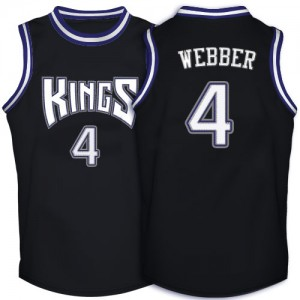 Hombre Camiseta Chris Webber #4 Sacramento Kings Adidas Throwback Negro Authentic