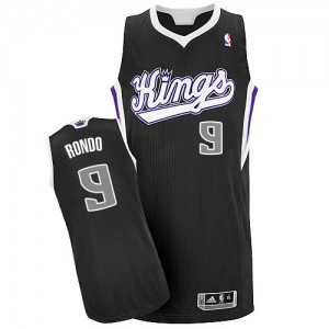 Hombre Camiseta Rajon Rondo #9 Sacramento Kings Adidas Alternate Negro Authentic